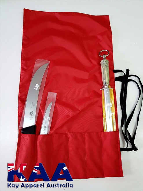 Red Water Resistant Knife Roll 6 Pocket