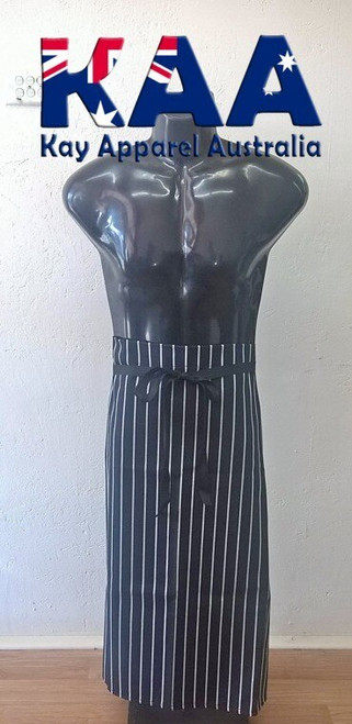 Bulk Discount Black White Vertical Pinstripe Butchers Waist Apron