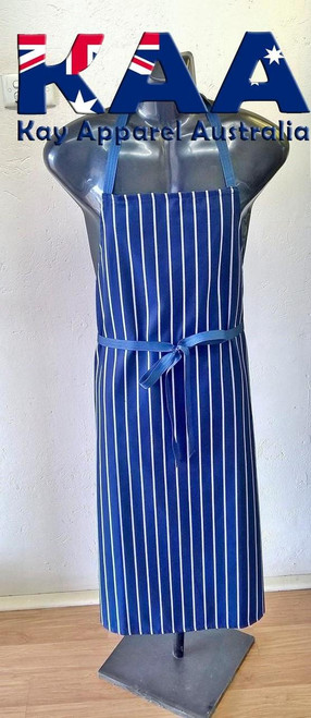 Navy White Butchers Vertical Pinstripe Bib Apron