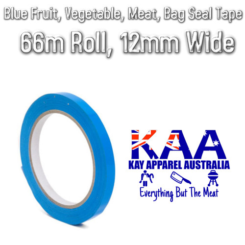 Blue Fruit, Vegetable, Meat Bag Seal Tape, 66m Roll, 12mm