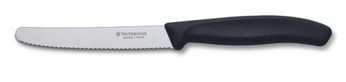 Victorinox Round Tip Wavey Edge Steak Knife Black 11cm
