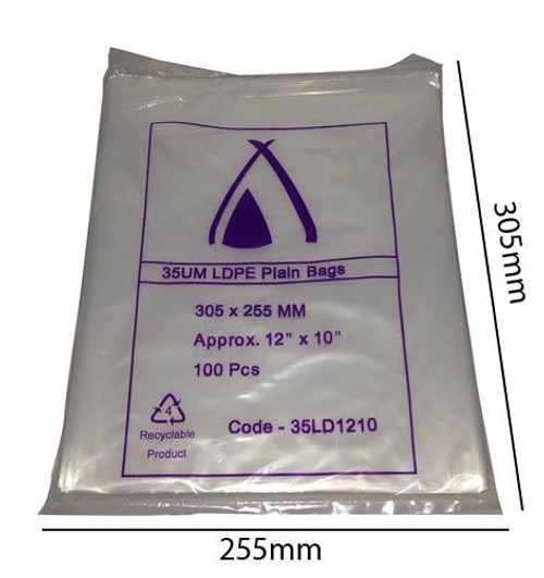 Heavy Duty LDPE Plain Freezer/Produce Bags 305 x 255 mm pack of 100