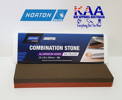 Norton Bear IB8 Aluminium Oxide Combination Bench Knife Sharpening Stone Oil Filled 25x50x200mm