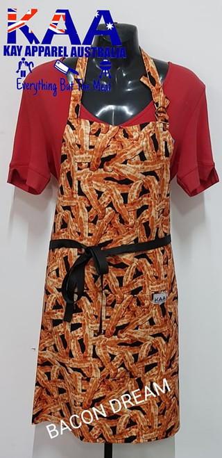 Bacon Dream Fancy Kitchen Cafe BBQ Bib Apron With Pocket