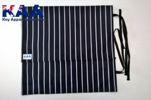 Black and White Pinstripe Knife Roll 6 Pocket