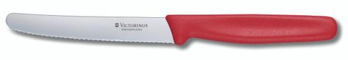 Victorinox Round Tip Wavey Edge Steak Knife RED 11cm