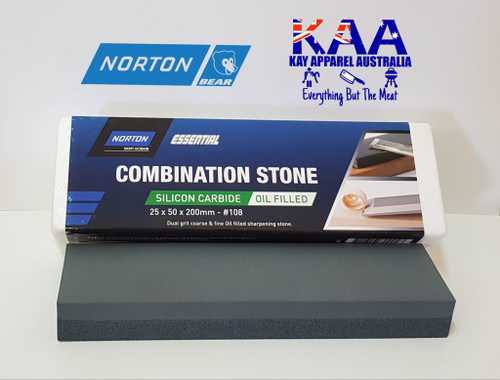 Norton Bear 108 Combination Bench Knife Sharpening Stone Oil Filled 25x50x200mm
