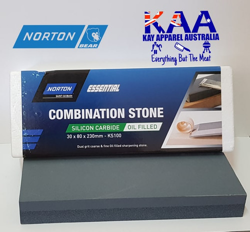 Norton Bear KS100 Combination Bench Knife Sharpening Stone Oil Filled 30x80x230mm