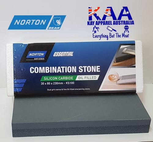 Norton Bear KS100 Combination Bench Knife Sharpening Stone Oil Filled 30x80x230mm