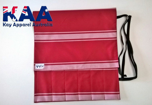 Butchers Knife Pouch Roll Red White Knife Roll 6 Pocket