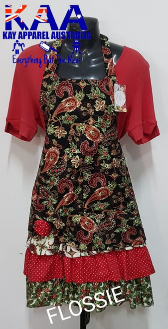 """Christmas Holly 4 Fancy Kitchen Cafe Bib Apron With Pocket """"Flossie"""""""