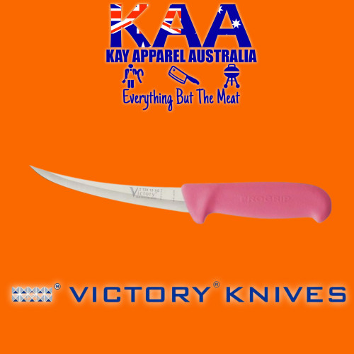 """Victory Pro Grip Hollow Ground Narrow Curved Boning knife 6"""" Pink"""