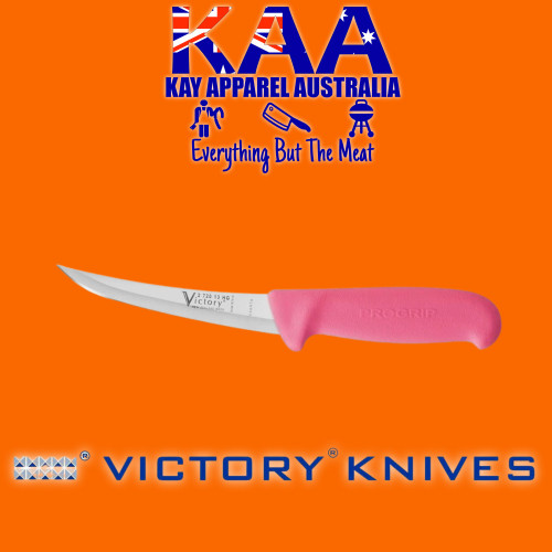 """Victory Pro Grip Hollow Ground Narrow Curved Boning knife 5"""" Pink"""