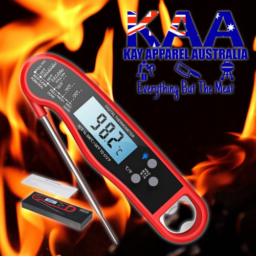Instant Read Folding Digital Food BBQ Thermometer Probe Red