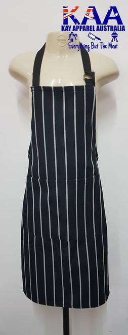 Child Junior Butchers Bib Apron Black/White Vertical Pinstripe, Front Pocket