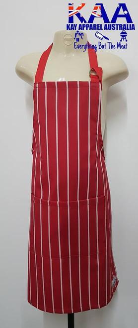 Child Junior Butchers Bib Apron Red/White Vertical Pinstripe, Front Pocket