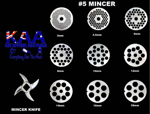 #5 Mincer Holeplate  These mincer plates will suit a Single notch mincer  We have 9 different sizes of mincer plates to choose from. 3mm, 4.5mm, 6mm, 8mm, 10mm, 12mm, 14mm, 16mm, 18mm  Simply match the number of your mincer to the mincer plate to get the best fit for your Mincer.  e.g.  #22 Mincer = #22 mincer plate and knife  Suit Brands and styles such as:  Reber Tre spade  Manual mincer Chinese made mincers etc...