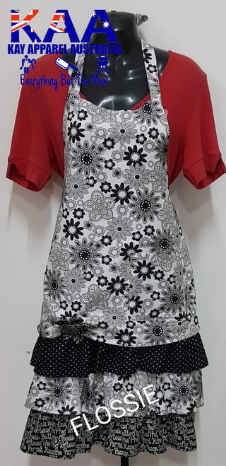 "Black & White Fancy Kitchen Cafe Bib Apron ""Flossie"""