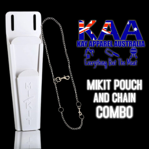 MiKit Butchers Knife Pouch, Scabbard & Stainless Steel Chain Belt Combo