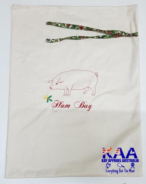 Ham Bag Calico With Pig Embroidery, 60cm x 40cm
