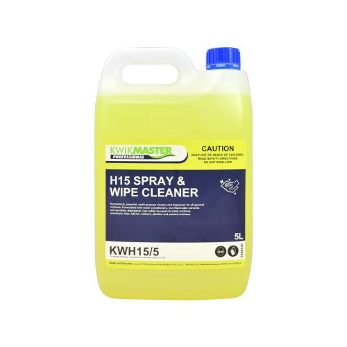 Kwikmaster Professional H15 Spray & Wipe Cleaner 5L, Cleaning Chemicals