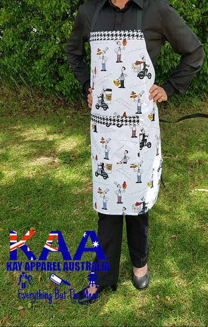 "Fancy Kitchen Cafe Bib Apron ""Chef On The Run"""