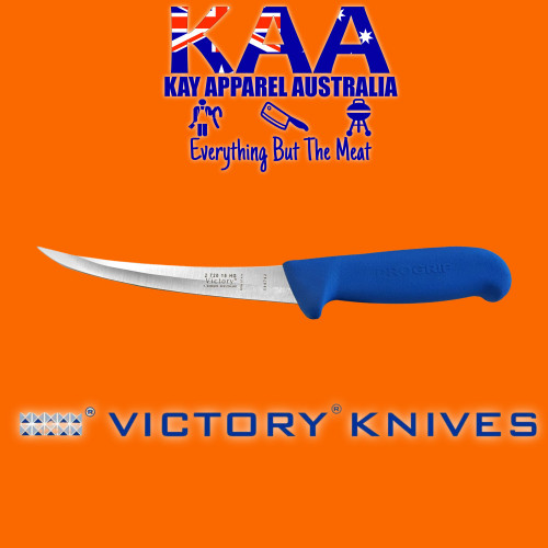 """Victory Pro Grip Hollow Ground Narrow Curved Boning knife 6"""" Blue"""