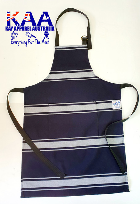 Child Junior Traditional Butchers Bib Apron Navy White, Front Pocket