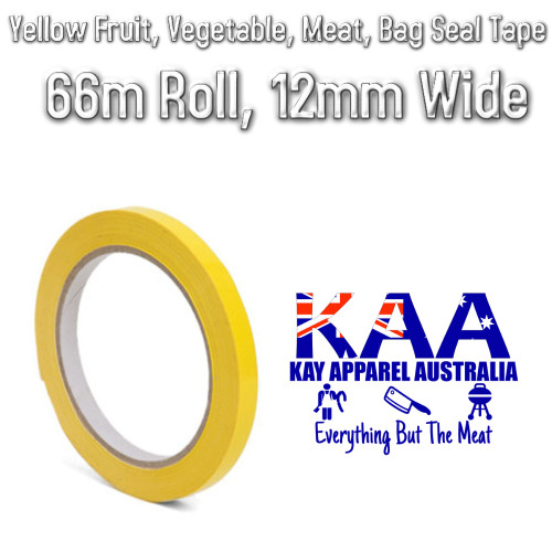 Yellow Fruit, Vegetable, Meat Bag Seal Tape, 66m Roll, 12mm
