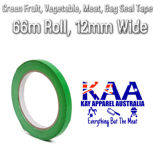 Green Fruit, Vegetable, Meat Bag Seal Tape, 66m Roll, 12mm