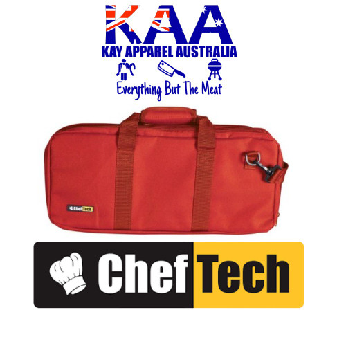 Cheftech 18 Pockets Knife Storage Bag Red, With Carry Strap