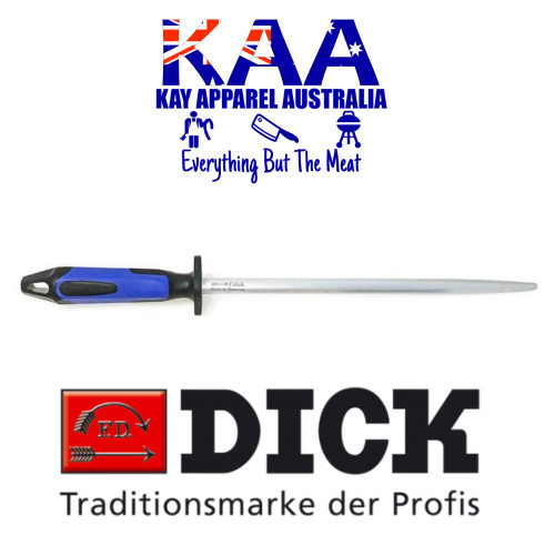 "F.Dick Pro Butchers Round Fine Cut Steel 12"" NEW 2K HANDLE 7 357130 66"