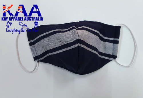 Face Masks Navy White Butchers Stripe, Hand Made, Washable and Reusable