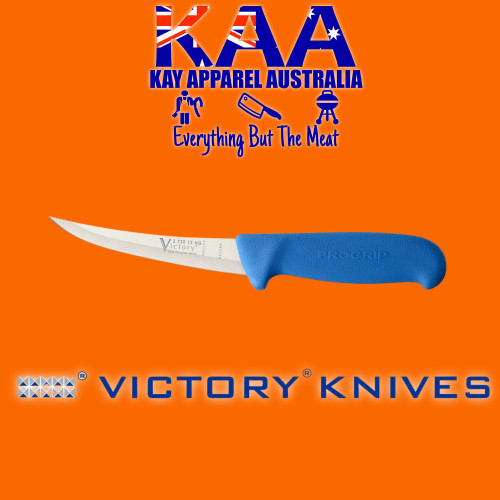 """Victory Pro Grip Hollow Ground Narrow Curved Boning knife 5"""" Blue"""