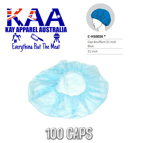 Disposable Bouffant Hair Net Cap, Blue 21 Inch, Pack of 100