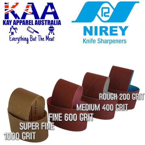 Nirey Replacement Abrasive Belts (Pair) Super Fine, Fine, Medium, Rough Set of 4