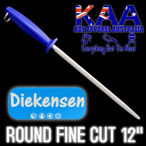 Diekensen Steel for Butchers, Round Fine Cut Stainless Steel 12 Inch