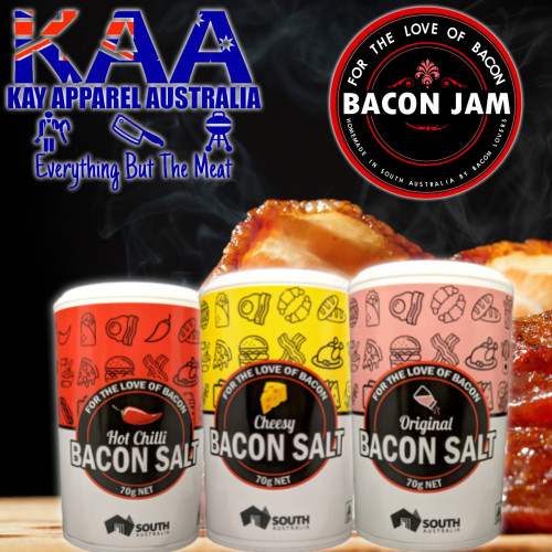 Bacon Salt Set of 3, Original, Cheesy, Chilli, For The Love Of Bacon