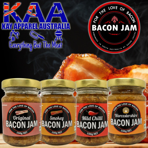 Bacon Jam Set of 4, Original, Smokey, Chilli, Worcestershire, For The Love Of Bacon