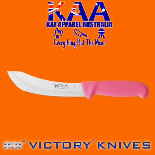 """Victory Pro Grip Hollow Ground Wide Curved Skinning knife 7"""" Pink"""