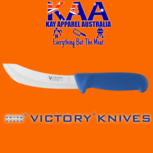 """Victory Pro Grip Hollow Ground Wide Curved Skinning knife 7"""" Blue"""