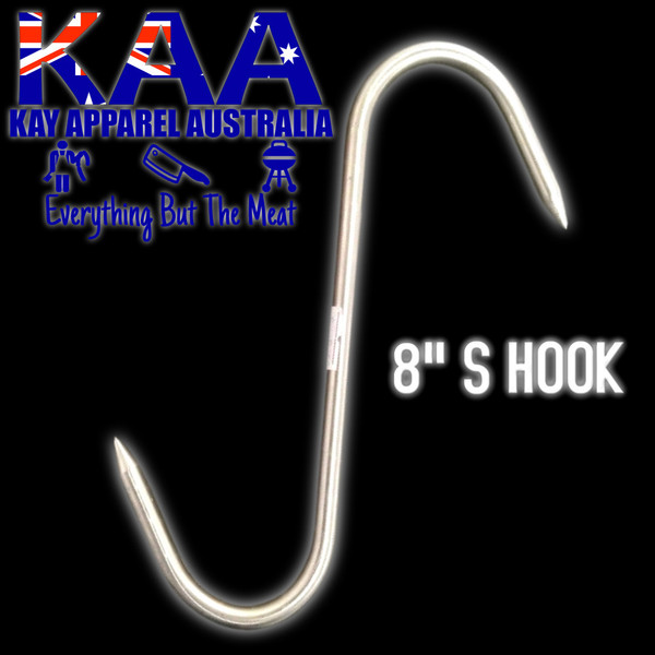 S Hook 8 inch Stainless Steel, Meat Hook, Point Both Ends