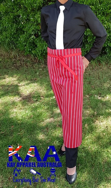 Bulk Discount Red White Vertical Pinstripe Butchers Waist Apron