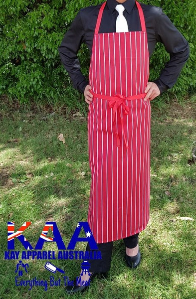 Bulk Discount Red White Vertical PinStripe Bib Apron