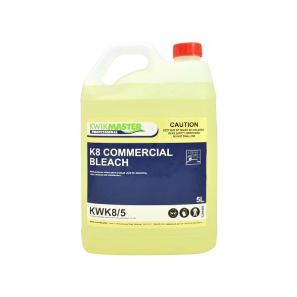 Kwikmaster Professional K8 Commercial Bleach 4% 5L, Cleaning Chemicals