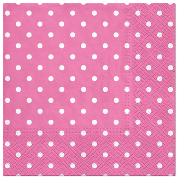 Paw Paper Lunch Napkin 33cm Pack of 20, 3 Ply, Dots Cyclamen