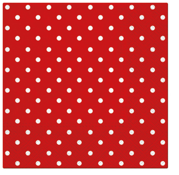 Paw Paper Lunch Napkin 33cm Pack of 20, 3 Ply, Dots Red
