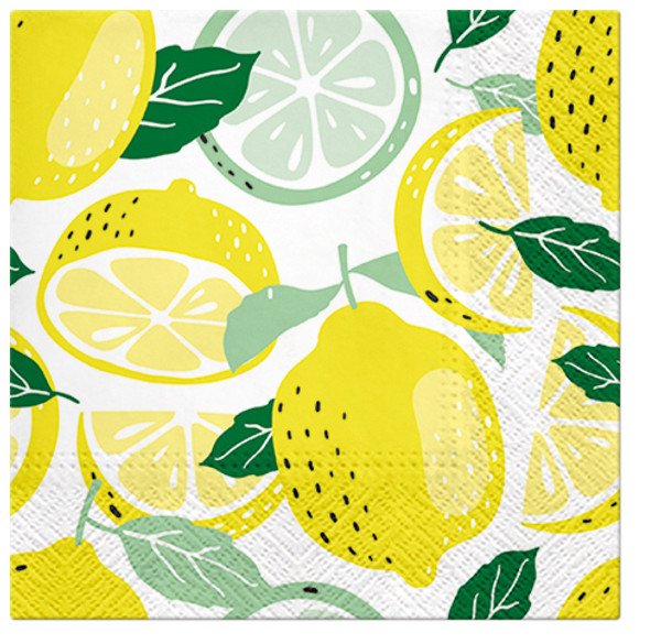 Paw Paper Lunch Napkin 33cm Pack of 20, 3 Ply, Tasty Lemons