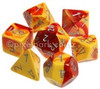 Gemini Polyhedral Dice Set Red Yellow-Silver