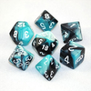 Gemini Black-Shell w/ White Polyhedral 7-Die Set